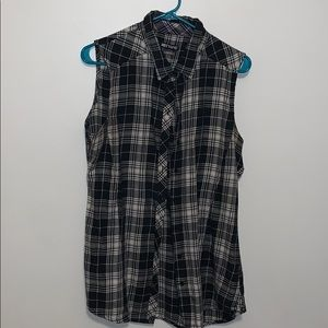 Flannel button up tank top